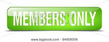 Members Only Green Square 3D Realistic Isolated Web Button