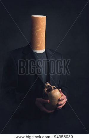 A Man With A Cigarette Filter As A Head Holding A Skull In His Hands
