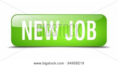 New Job Green Square 3D Realistic Isolated Web Button
