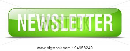 Newsletter Green Square 3D Realistic Isolated Web Button