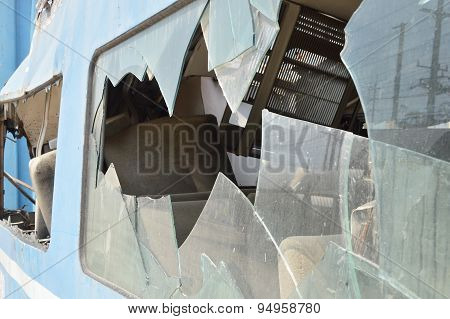 broken glass of crash train