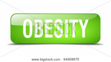 Obesity Green Square 3D Realistic Isolated Web Button