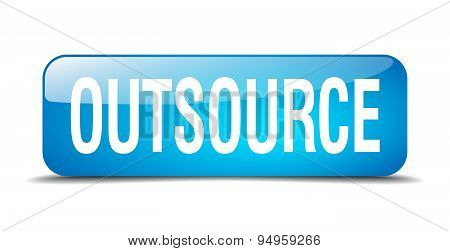 Outsource Blue Square 3D Realistic Isolated Web Button