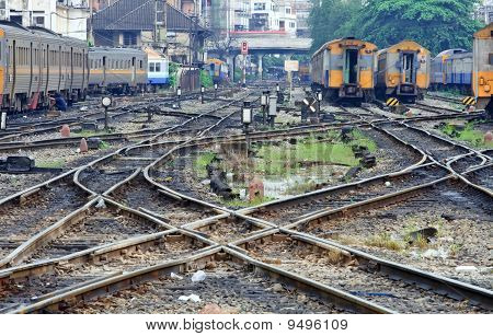 Perspective of crossing railway track junction