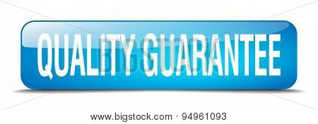 Quality Guarantee Blue Square 3D Realistic Isolated Web Button