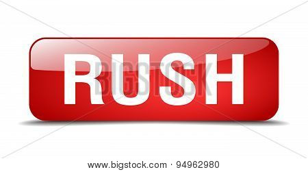 Rush Red Square 3D Realistic Isolated Web Button
