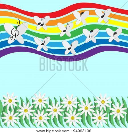 Musical Notes And Butterflies Circling In The Sky On A Rainbow Background Creating The Melody Of The