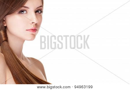Girl With Perfect Skin Isolated Over White Background