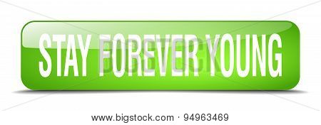 Stay Forever Young Green Square 3D Realistic Isolated Web Button