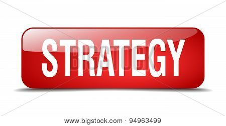 Strategy Red Square 3D Realistic Isolated Web Button