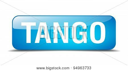 Tango Blue Square 3D Realistic Isolated Web Button