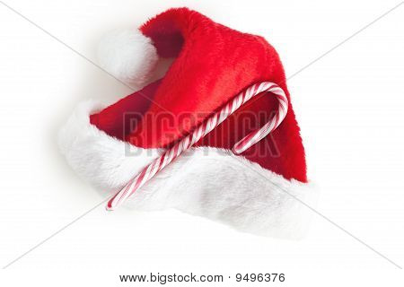 Stripy Candy Cane And Xmas Hat