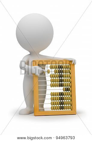 3d small people with abacus. 3d image. Isolated white background.