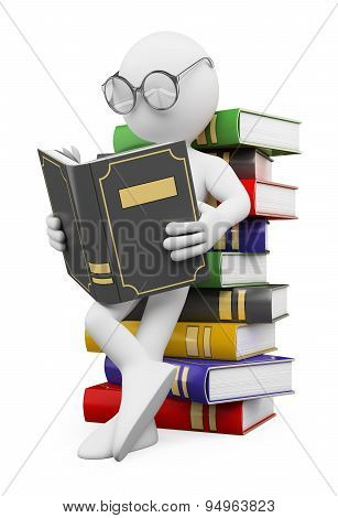 3d people - man, person reads a book, leaning back against a pile of books