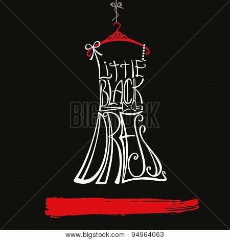 Woman dress Silhouette.Little black dress.White,red