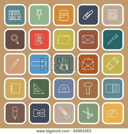 Stationery Line Flat Icons On Brown Background