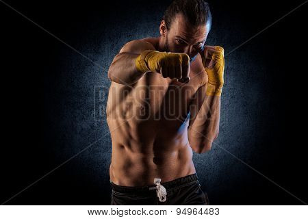 Boxing Man Ready To Fight. Boxing, Workout, Muscle, Strength