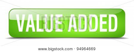 Value Added Green Square 3D Realistic Isolated Web Button