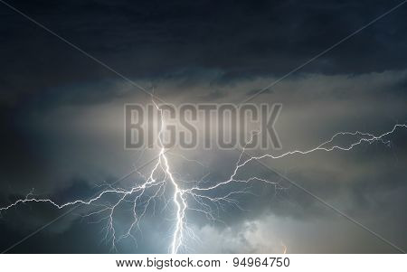 Thunder, lightnings and rain on stormy summer night