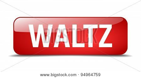 Waltz Red Square 3D Realistic Isolated Web Button