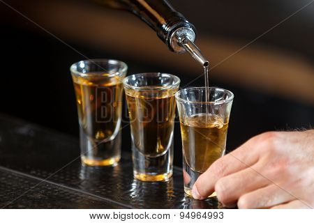 Shot glasses on a counter
