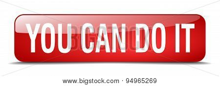 You Can Do It Red Square 3D Realistic Isolated Web Button
