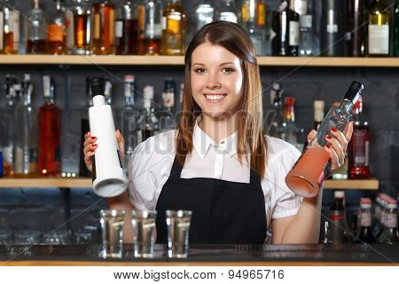 Female bartender at work