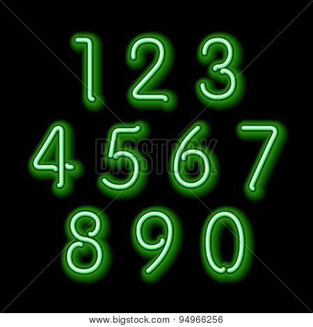 Numerical Figures In Sparkling Neon Colors