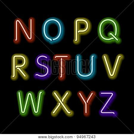 Neon Glow Alphabet. Vector. Design, Party, Retro, 3D, Art, Font,