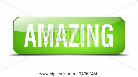 Amazing Green Square 3D Realistic Isolated Web Button