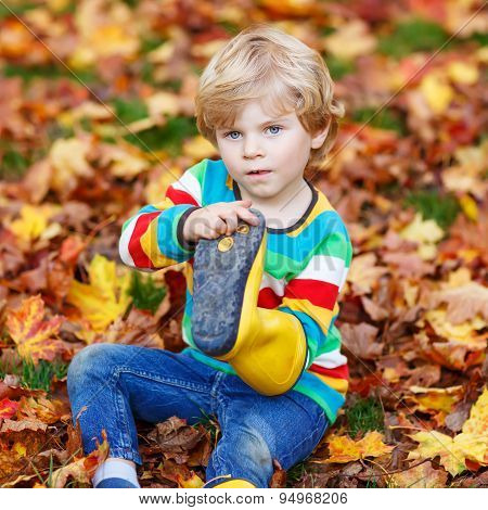 Little Cute Kid Boy Boys Laying In Autumn Leaves In Colorful Clothing