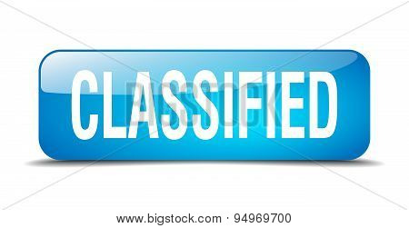 Classified Blue Square 3D Realistic Isolated Web Button