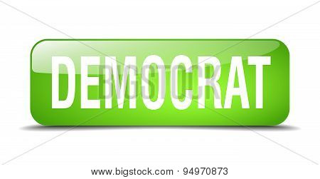 Democrat Green Square 3D Realistic Isolated Web Button