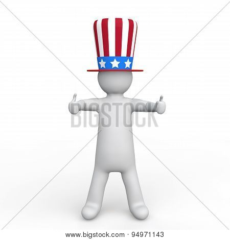 3d man with american hat thumbs up
