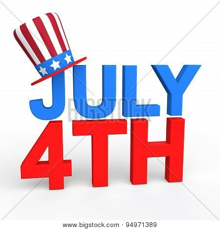 3d July 4th text with american hat