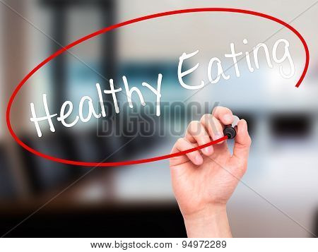 Man Hand writing Healthy Eating with black marker on visual screen.