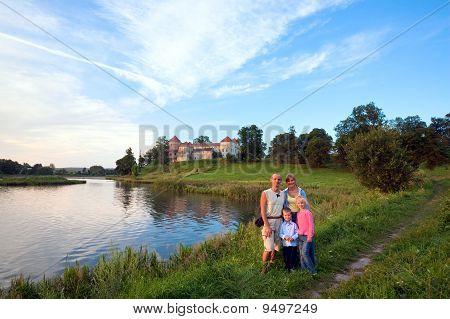 Family And Evening Svirzh Castle (ukraine).