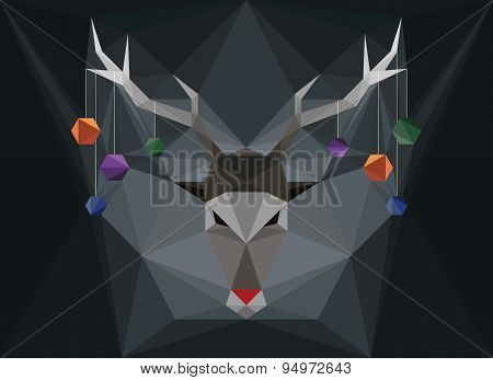 Polygonal Stag Head With Ornaments