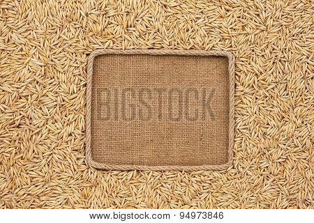 Frame Made Of Rope With Oats Grains On Sackcloth