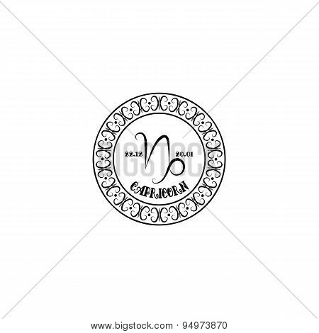 Black And White Sign Capricorn In Vintage Style On A White Background
