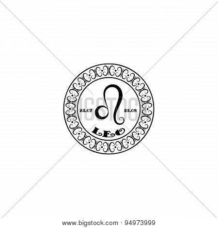 Black And White Sign Leo In Vintage Style On A White Background