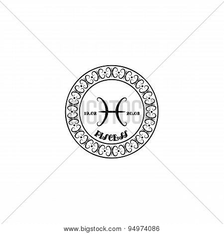 Black And White Sign Pisces In Vintage Style On A White Background