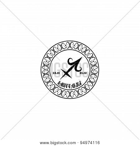 Black And White Sign Sagittarius In Vintage Style On A White Background
