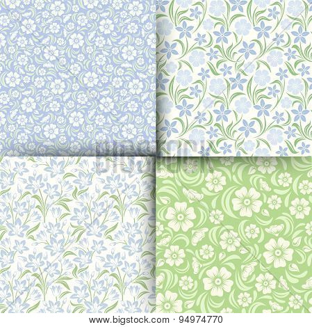Set of blue and green seamless floral patterns. Vector illustration.