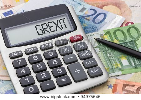 Calculator With Euro Bills - Grexit