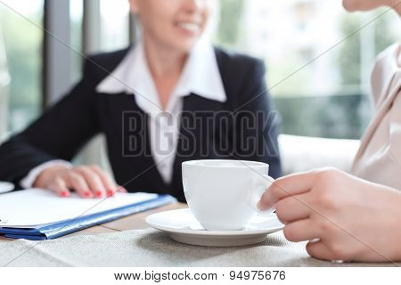 Businesswomen during a business lunch