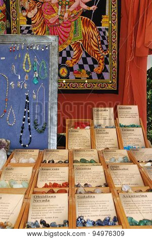Precious stones stall, Spain.