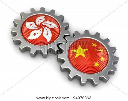 Hong Kong and Chinese flags on a gears (clipping path included)
