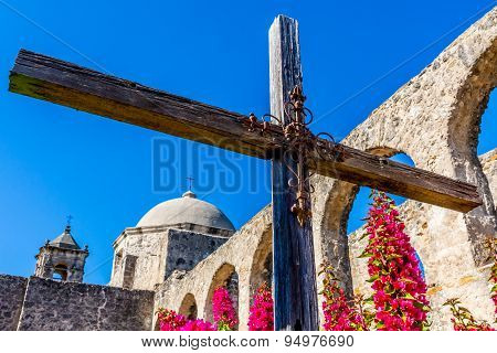 The Historic Old West Spanish Mission San Jose, Founded In 1720, San Antonio, Texas, Usa.