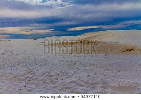 The Amazing White Sands with Cloudy Blue Skies of White Sands Monument National Park in New Mexico